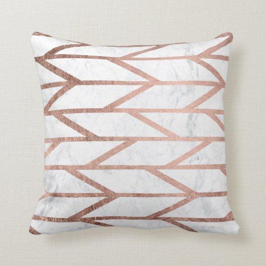 Modern faux rose gold herringbone chevron pattern cushion