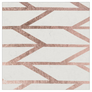 Modern faux rose gold herringbone chevron pattern fabric