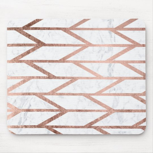Modern faux rose gold herringbone chevron pattern mouse