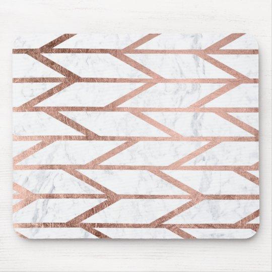 Modern faux rose gold herringbone chevron pattern mouse pad