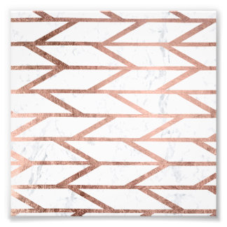 Modern faux rose gold herringbone chevron pattern photo print