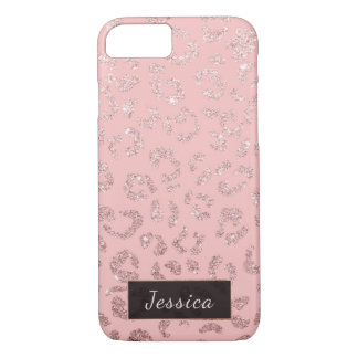 Modern faux rose gold leopard ombre pink monogram iPhone 8/7 case