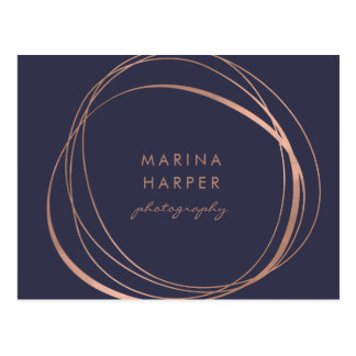 Modern Faux Rose Gold Logo Postcard