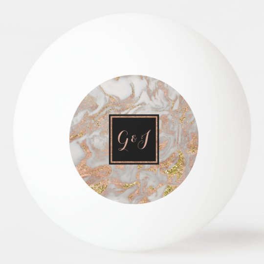 Modern Faux Rose Gold Marble Monogram Couples