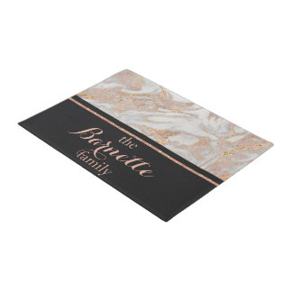 Modern Faux Rose Gold Marble Monogram Family Doormat