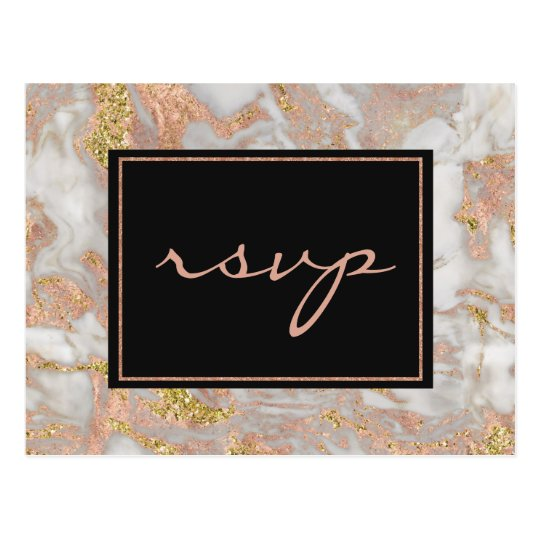 Modern Faux Rose Gold Marble Monogram RSVP Postcard
