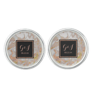 Modern Faux Rose Gold Marble Monogram Wedding Cuff Links