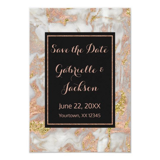 Modern Faux Rose Gold Marble Save The Date
