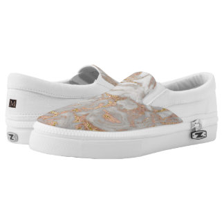 Modern Faux Rose Gold Marble Swirl Chic Slip-On Shoes