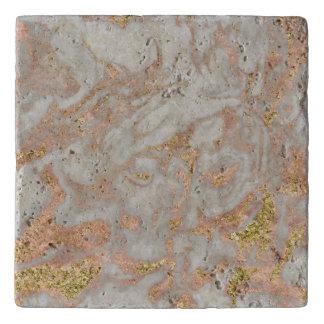 Modern Faux Rose Gold Marble Swirl Chic Trivet