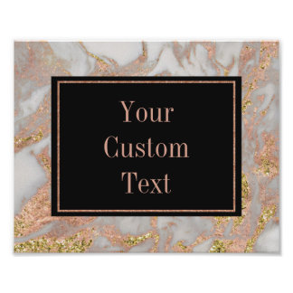 Modern Faux Rose Gold Marble Swirl Custom Text Poster