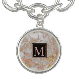 Modern Faux Rose Gold Marble Swirl Monogram