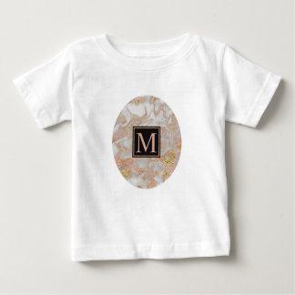 Modern Faux Rose Gold Marble Swirl Monogram Baby T-Shirt