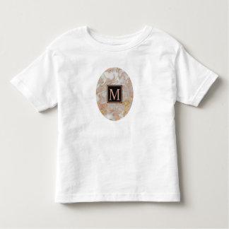 Modern Faux Rose Gold Marble Swirl Monogram Baby Toddler T-Shirt