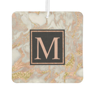 Modern Faux Rose Gold Marble Swirl Monogram Car Air Freshener