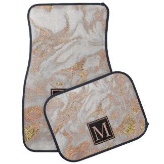 Modern Faux Rose Gold Marble Swirl Monogram Car Mat