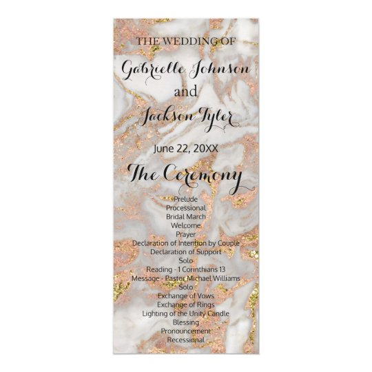 Modern Faux Rose Gold Marble Swirl Monogram Card