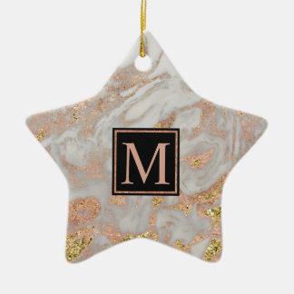 Modern Faux Rose Gold Marble Swirl Monogram Christmas Ornament