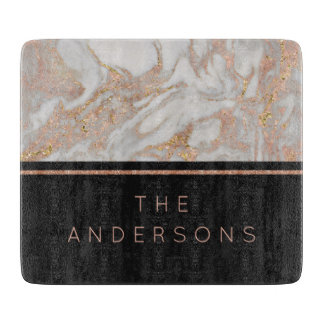 Modern Faux Rose Gold Marble Swirl Monogram Cutting Board