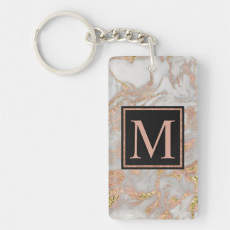 Modern Faux Rose Gold Marble Swirl Monogram Double-Sided Rectangular Acrylic Key Ring