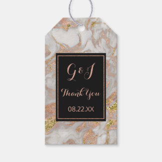 Modern Faux Rose Gold Marble Swirl Monogram Gift Tags