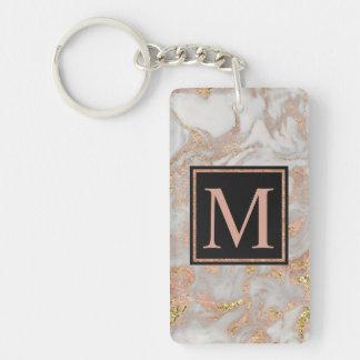 Modern Faux Rose Gold Marble Swirl Monogram Key Ring