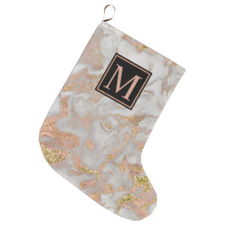 Modern Faux Rose Gold Marble Swirl Monogram Large Christmas Stocking