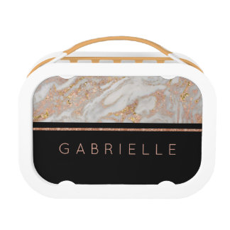 Modern Faux Rose Gold Marble Swirl Monogram Lunch Box