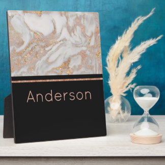 Modern Faux Rose Gold Marble Swirl Monogram Plaque