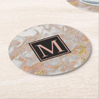 Modern Faux Rose Gold Marble Swirl Monogram Round Paper Coaster