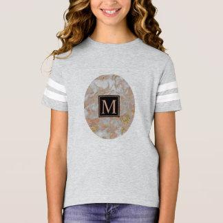 Modern Faux Rose Gold Marble Swirl Monogram T-Shirt