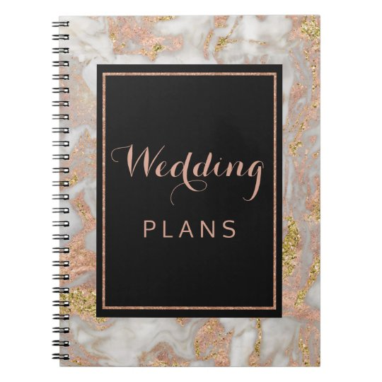 Modern Faux Rose Gold Marble Wedding Planner Spiral