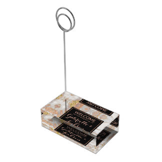 Modern Faux Rose Gold Marble Wedding Table Number Table Card Holder