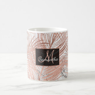 Modern faux rose gold palm tree leaf marble coffee mug