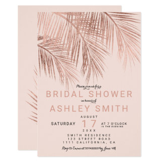 Modern faux rose gold palmtree blush Bridal shower Card