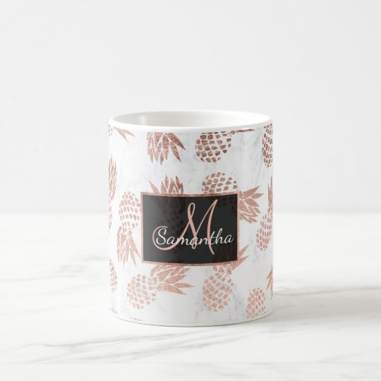 Modern faux rose gold pineapples white marble coffee