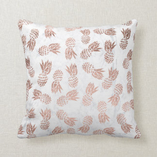 Modern faux rose gold pineapples white marble cushion