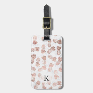 Modern faux rose gold pineapples white marble luggage tag