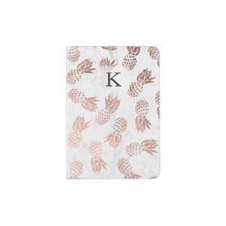 Modern faux rose gold pineapples white marble passport holder