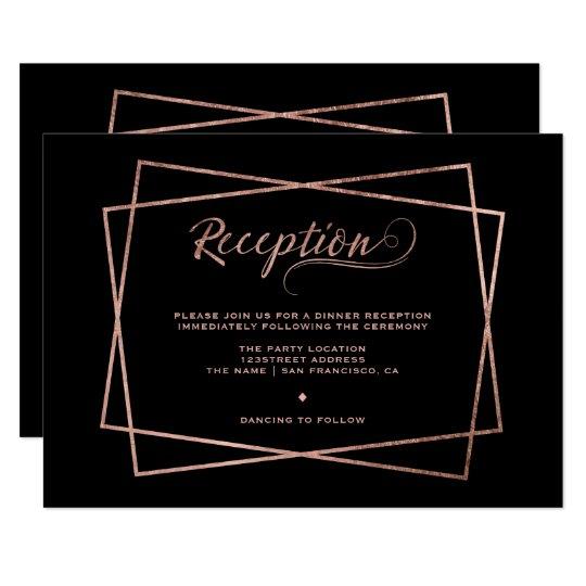 Modern faux rose gold script geometric reception card