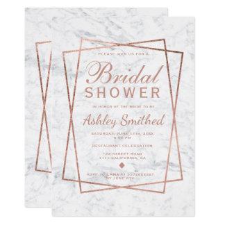 Modern faux rose gold script marble bridal shower card