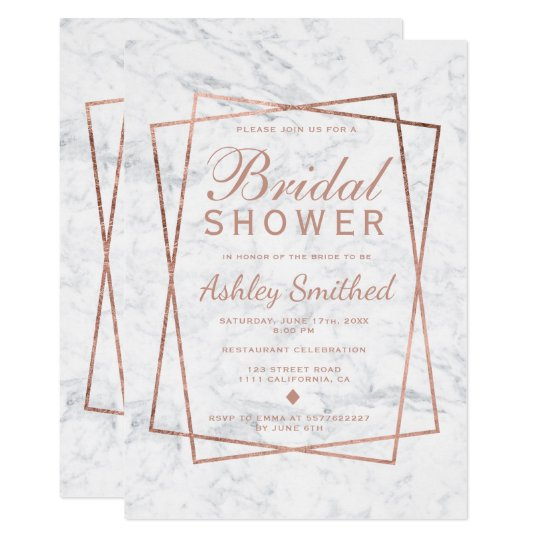 Modern faux rose gold script marble bridal shower