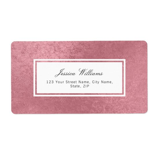 Modern faux rose gold shipping label