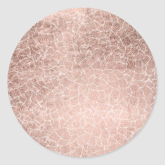 Modern faux rose gold stripes geometric pattern classic round sticker