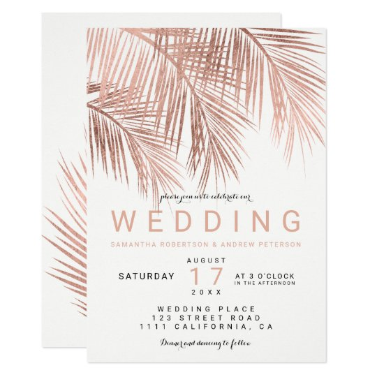 Modern faux rose gold tropical palm tree wedding