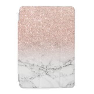 Modern faux rose pink glitter ombre white marble iPad mini cover
