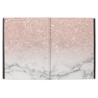 """Modern faux rose pink glitter ombre white marble iPad pro 12.9"""" case"""