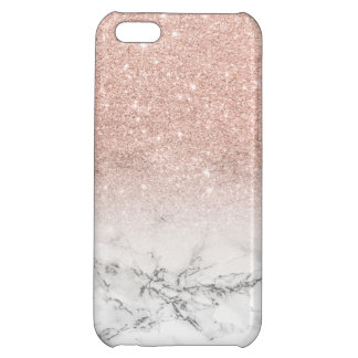 Modern faux rose pink glitter ombre white marble iPhone 5C cover