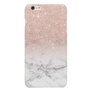 Modern faux rose pink glitter ombre white marble iPhone 6 plus case