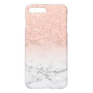 Modern faux rose pink glitter ombre white marble iPhone 7 plus case